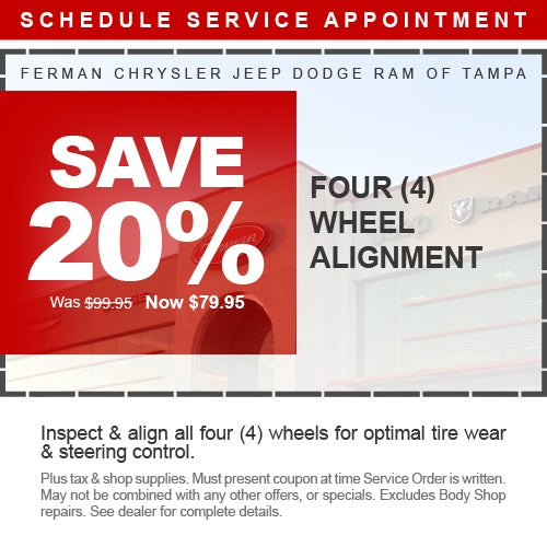 Wheel Alignment Coupons >> Save 20 Four 4 Wheel Alignment Ferman Cdjr Tampa Specials Lutz Fl