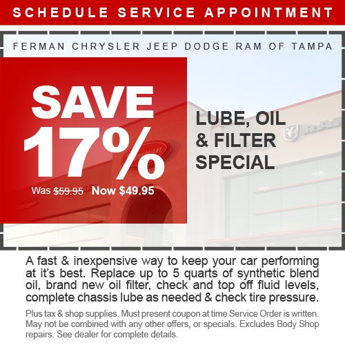 Save 17% Lube, Oil & Filter Special | Ferman CDJR Tampa Specials